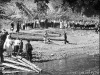 Сбор детей на левом берегу Печоры у пос.Кедровый Шор для отправки в пионерский лагерь (1961–1962 гг.)